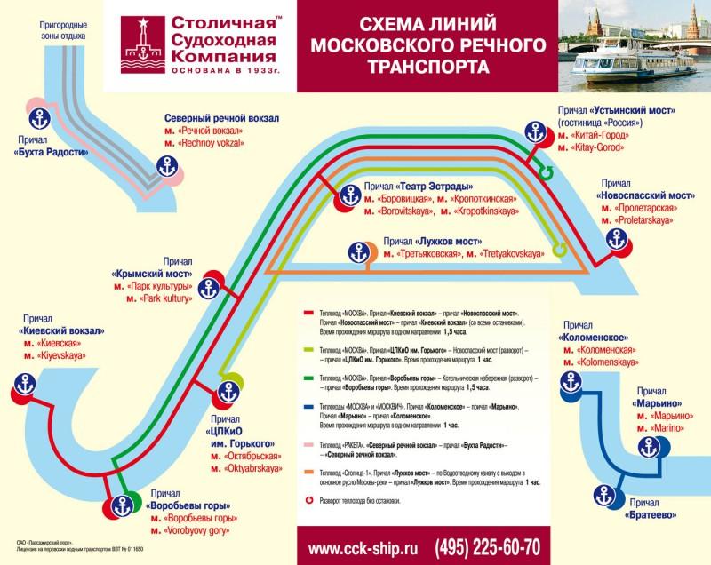 Схема маршрутов прогулок по Москве-реке на теплоходе