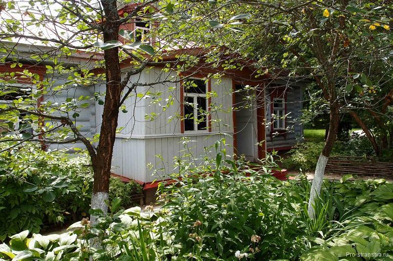 Деревянный дом и вишни